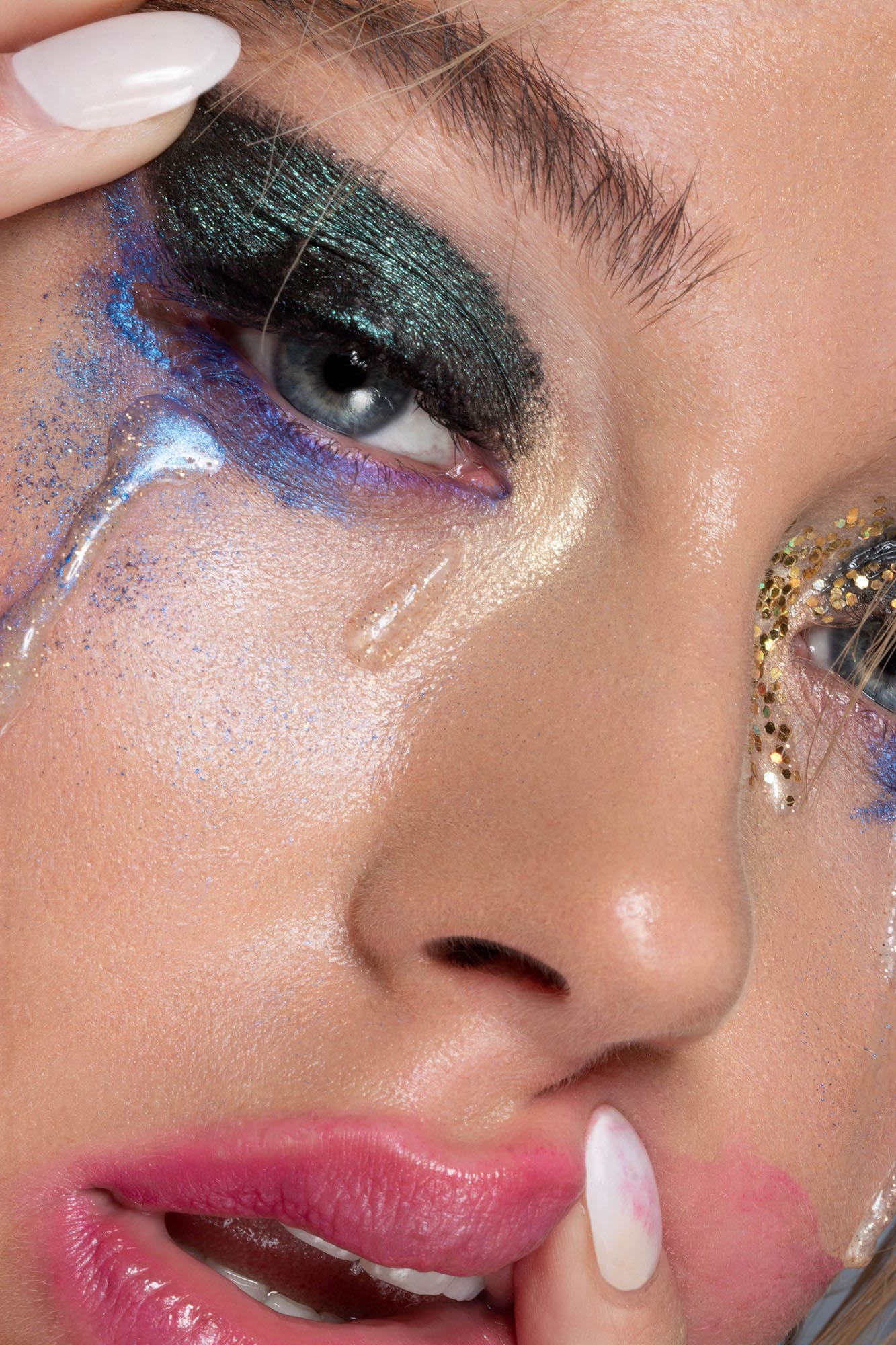 Lilah Gow Glitter Tears Editorial Makeup